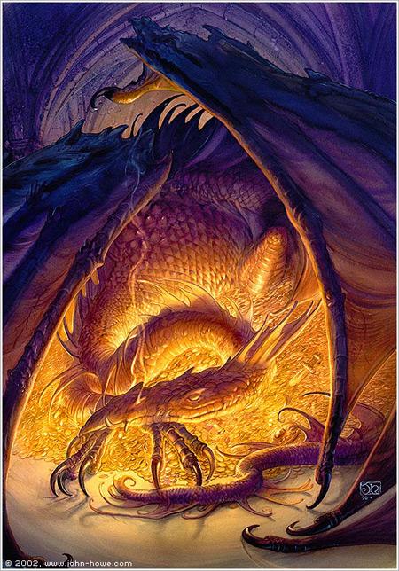 Smaug - Illustration pour Bilbo le Hobbit de John Howe