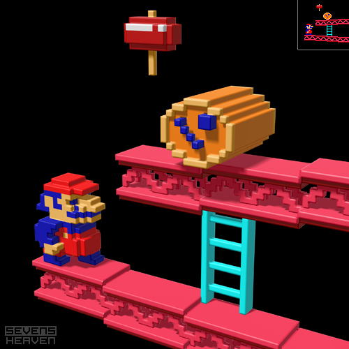 3D pixel art of Donkey Kong