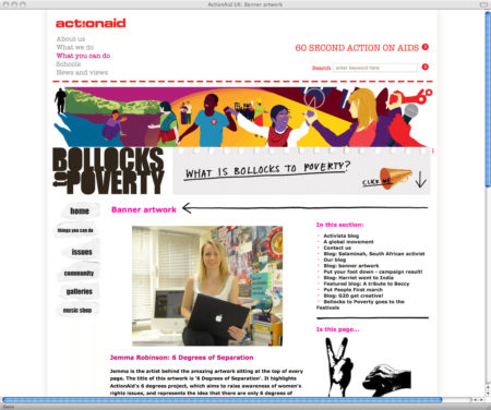 'Bollocks To Poverty' section of the Action Aid website featuring Jemillo's banner artwork