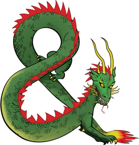 Ampersand dragon created in Illustrator