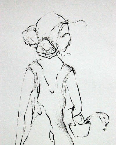 """""""Hush"""", ink drawing by Charmagne Coe"""
