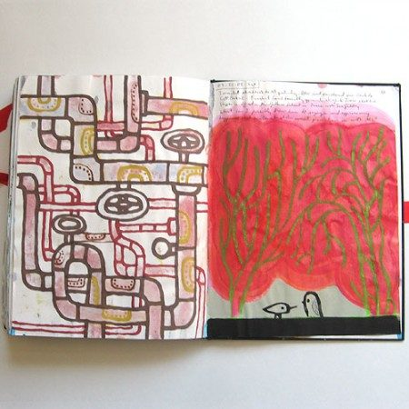 spread from Rob Dunlavey's sketchbook, January 2009