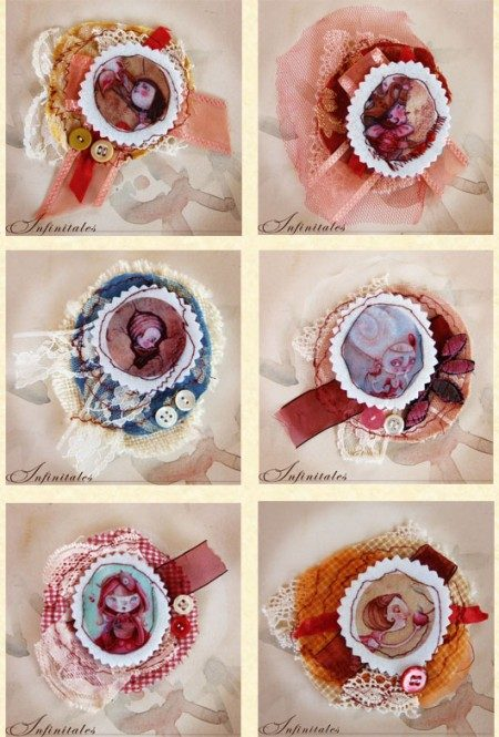 Fabric brooches by Alessandra Fusi