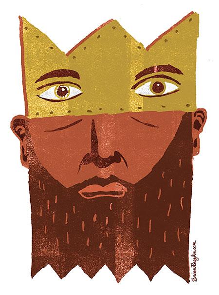 The King by Brian Raszka Illustration, commercial Illustration, 3x3 magazine, award-winning, king, royalty, leader, politics, people