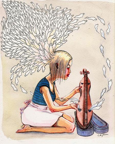 Listening to mellow folk music