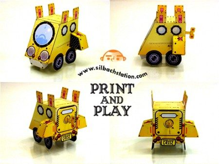 """Buck Tooth Car"" paper toy by Carlos Araujo"