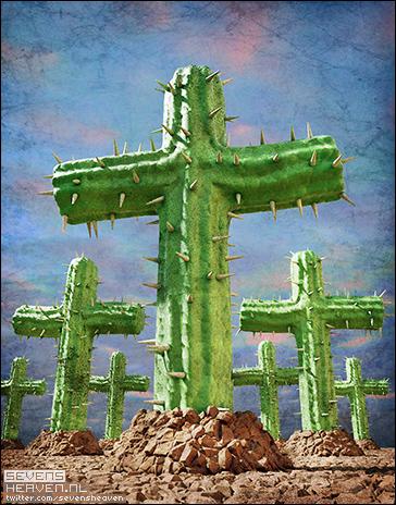 cartoon-spotprent-satire_mexicaanse-griep-cactus-kruis-graf