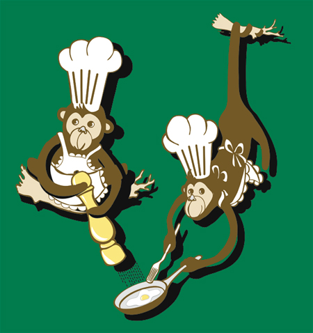 frying monkeys illustration