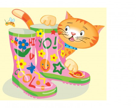 Oz the Cat decorates his Wellies