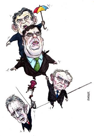 Gordon Brown, Brian Cowen, John McGuinness, Peter Robinson, editorial, cartoon
