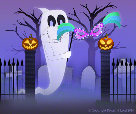 Ghost with Mask in Cemetery Between Two Jack O'Lanterns