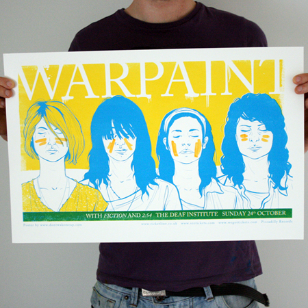Warpaint screen print gig poster by Kelly Dyson