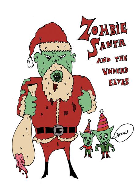Christmas Zombie Santa.Mongsterr Zombie Santa Christmas Card