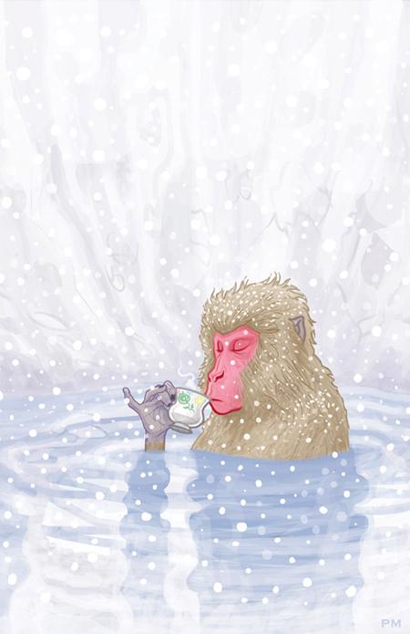 Japanese-Snow-Monkey-Tea-by-Patrick-McQuade-11x17-print-new-450