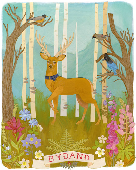 bydand_deer_forest_illustration