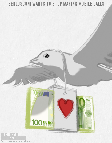 Berlusconi pigeon cartoon by Sevensheaven.nl