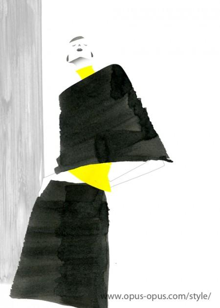 fashion illustration Black and Yellow