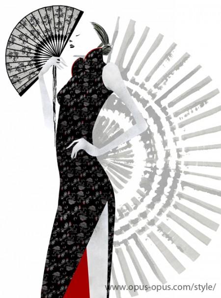 fashion illustration China Black Dress