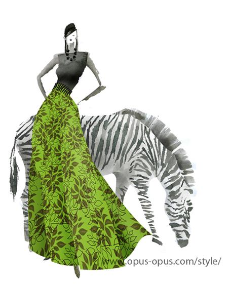 fashion illustration Zebra Green Skirt