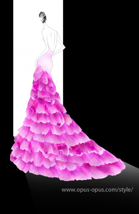 fashion illustration pink feather dress