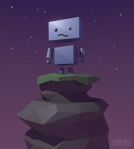 sevensheaven_low-poly-style-artwork_robot-mountain-top
