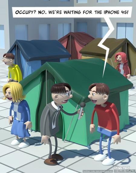 cartoon-satire-spotprent_occupy-apple-iphone-tenten-tents