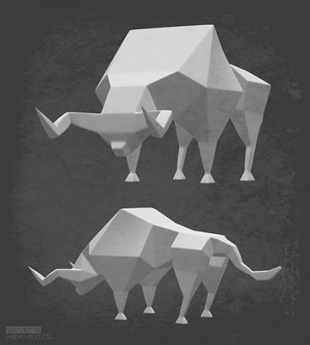 sevensheaven-nl_low-polygon-stier-bull-abstract-art-kunst