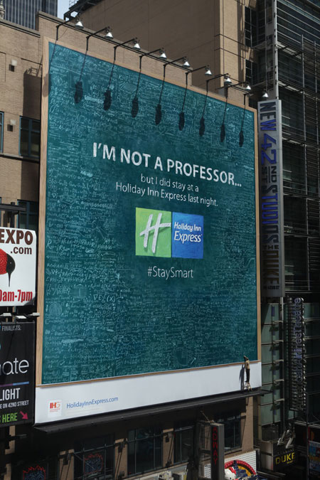 Inkymole's Holiday Inn Express Times Square billboard