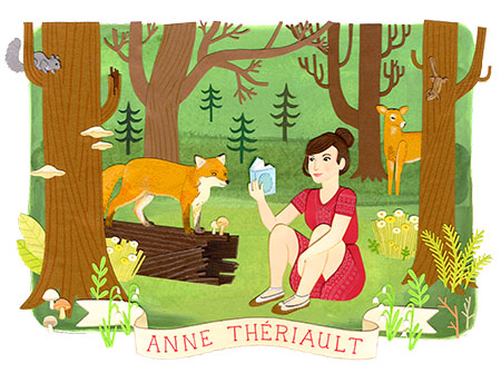 Anne_Thériault_forest_fox_woman_reading_paper_cut_illustration