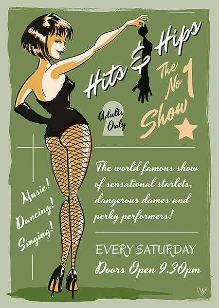 Hits and Hips - Customisable Burlesque Poster with Pin-up Charac