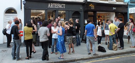 Gathering outside The Framers Gallery for Mail Me Art 3.