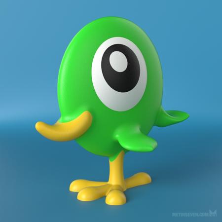 metin-seven_3d-print-modeler-toy-designer_flat-bird-character