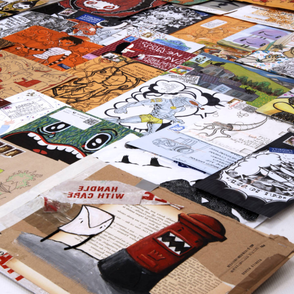 A selection of mail art examples from the 2006 Mail Me Art project.