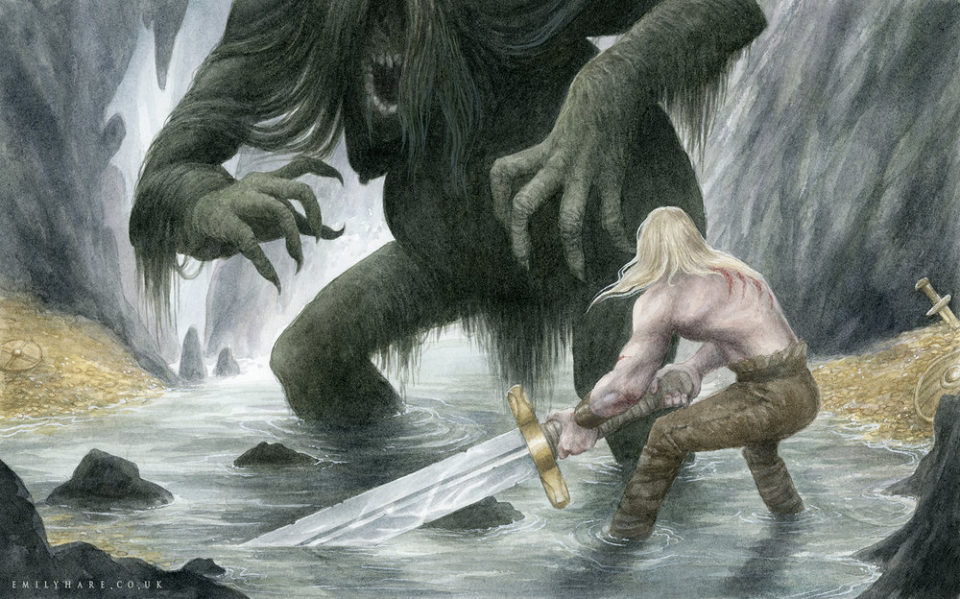 Beowulf Faces Grendel's Mother